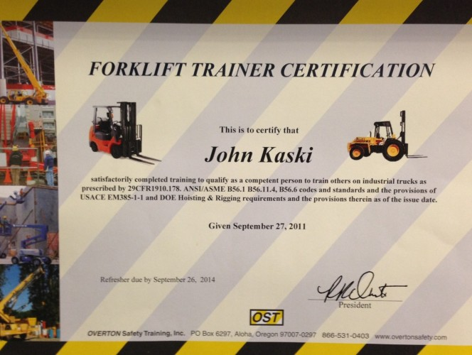 Tapani Plumbing Inc Forklift Trainer Certification